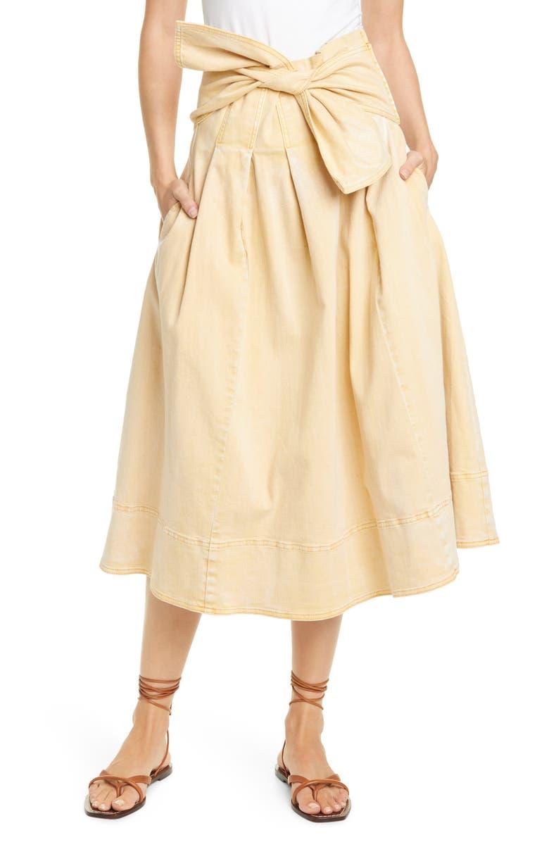 ULLA JOHNSON Virgil Tie Waist Midi Skirt, Main, color, KHAKI
