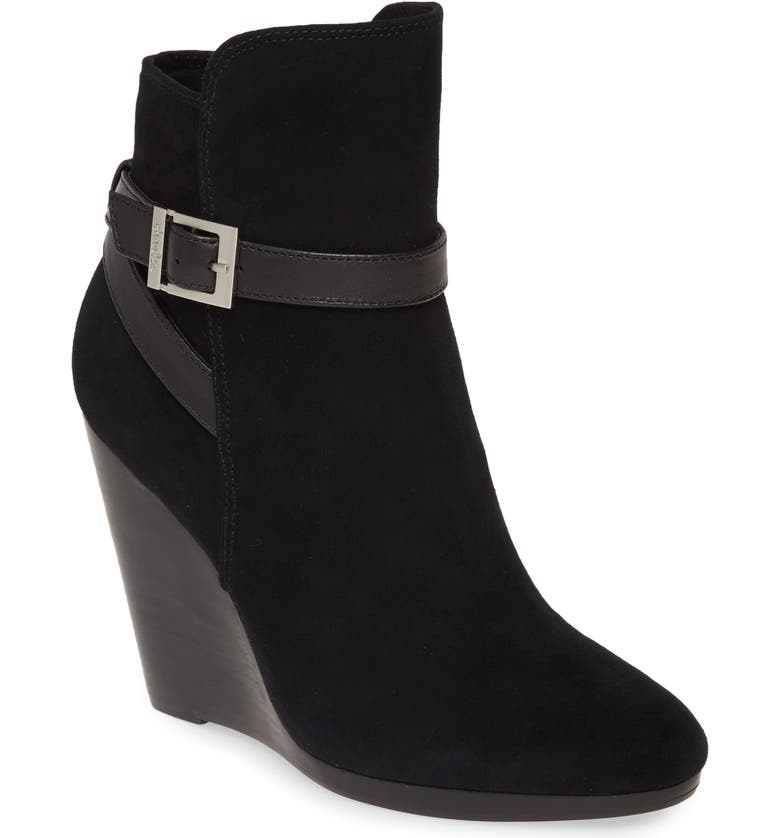 CHARLES BY CHARLES DAVID Hades Wedge Bootie, Main, color, BLACK SUEDE