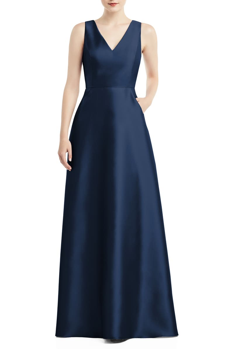 ALFRED SUNG V-Neck Satin A-Line Gown, Main, color, MIDNIGHT