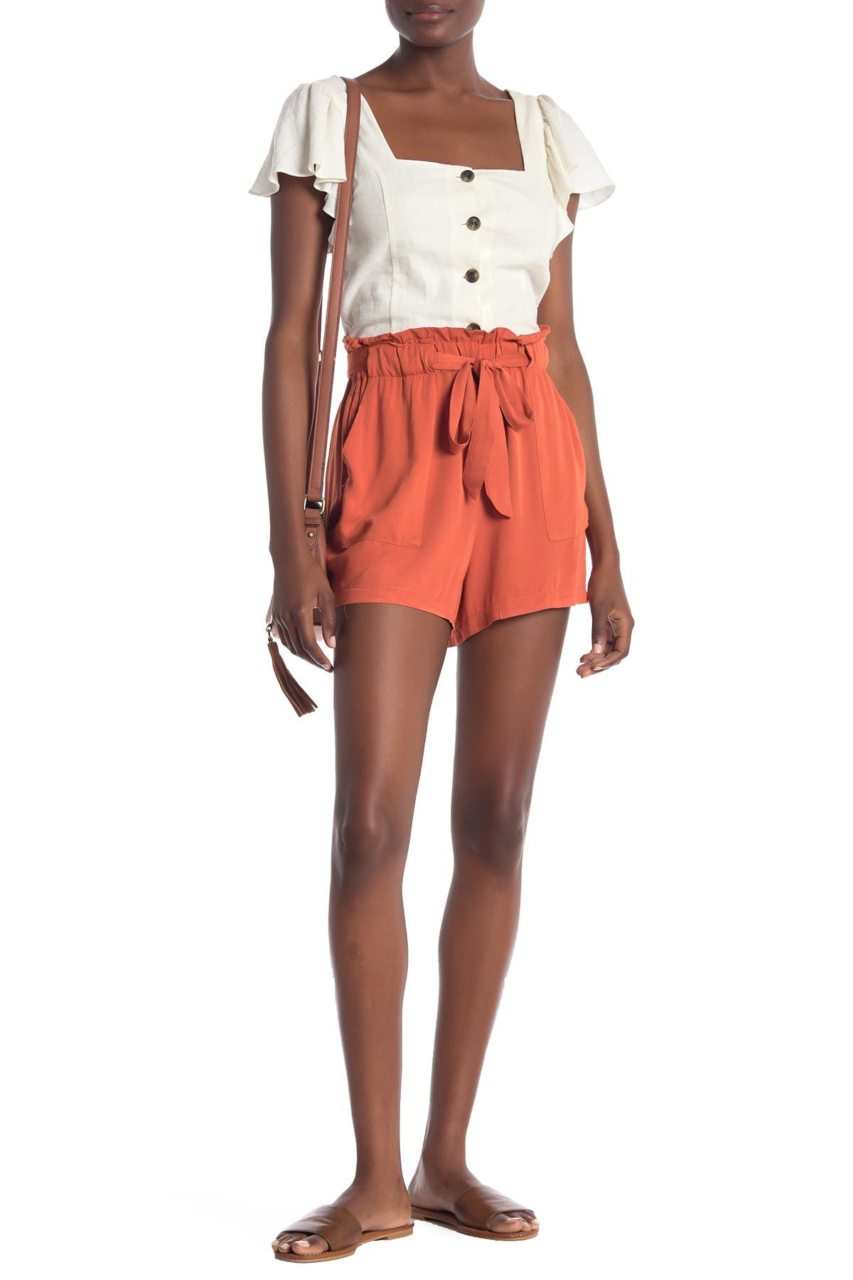 Image of Know One Cares High Rise Paperbag Waist Shorts