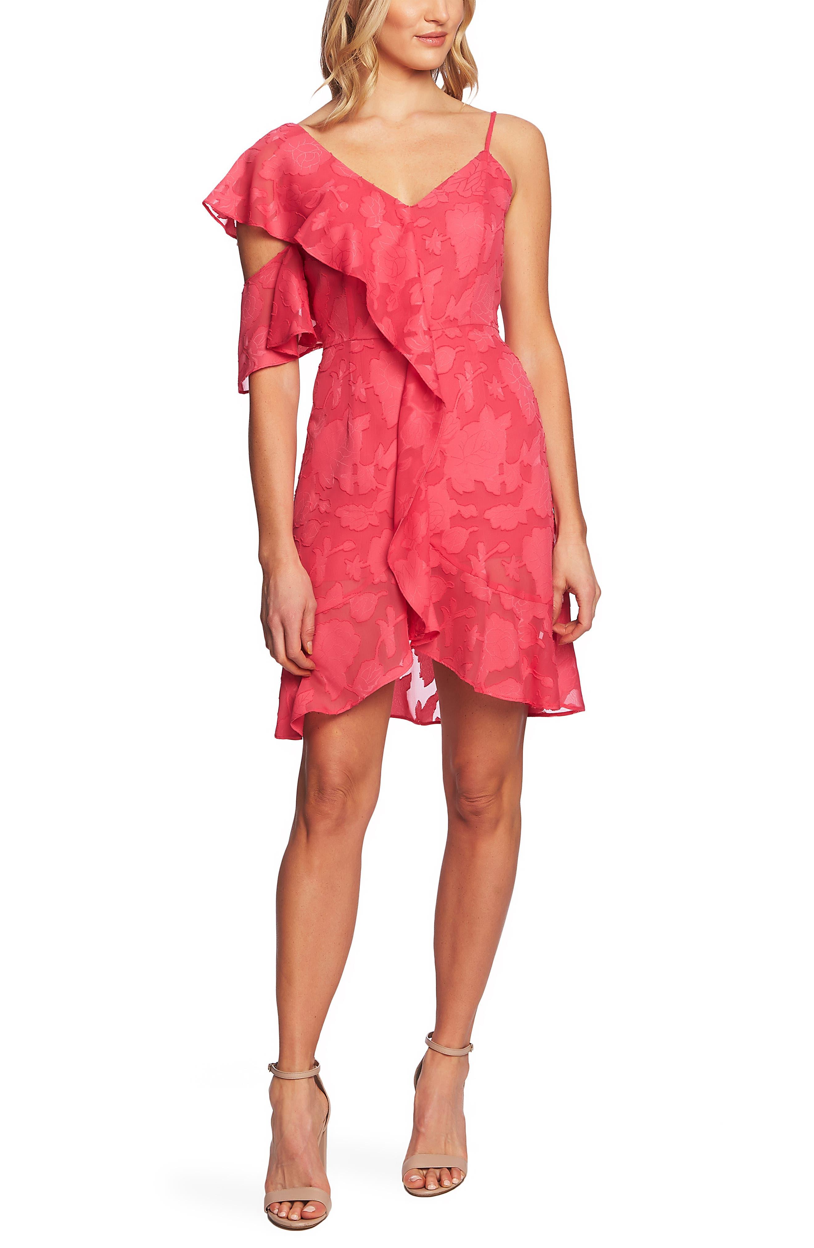 Cece Floral Burnout Asymmetrical A-Line Dress, Pink