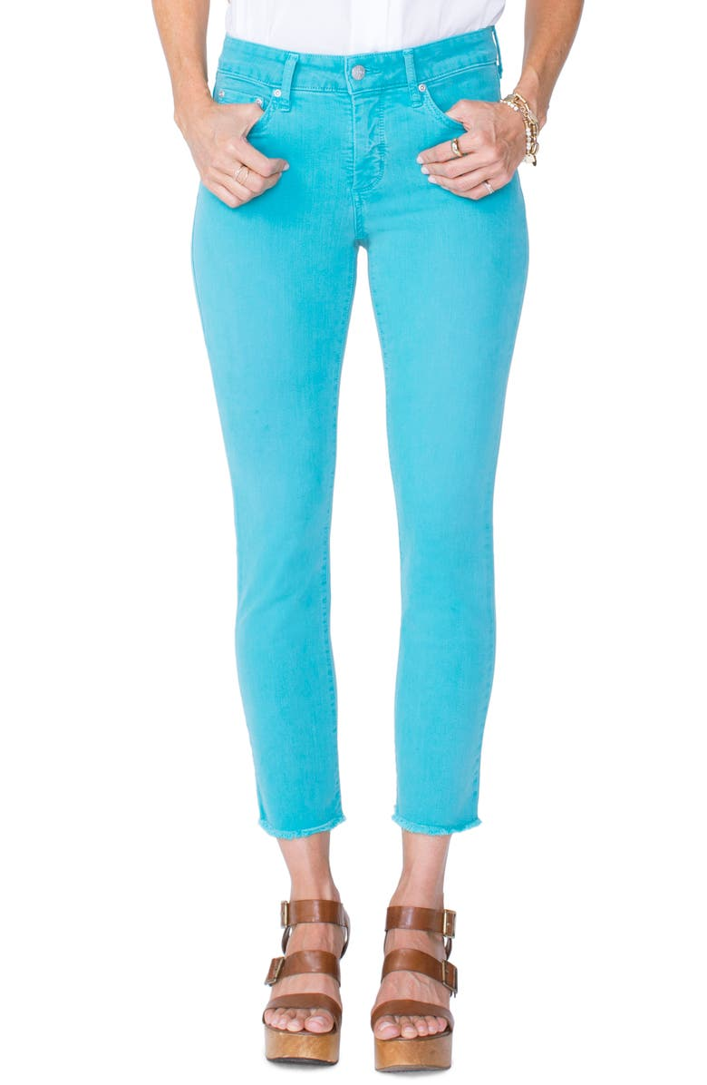 NYDJ Sheri High Waist Frayed Hem Stretch Slim Ankle Jeans, Main, color, WATER