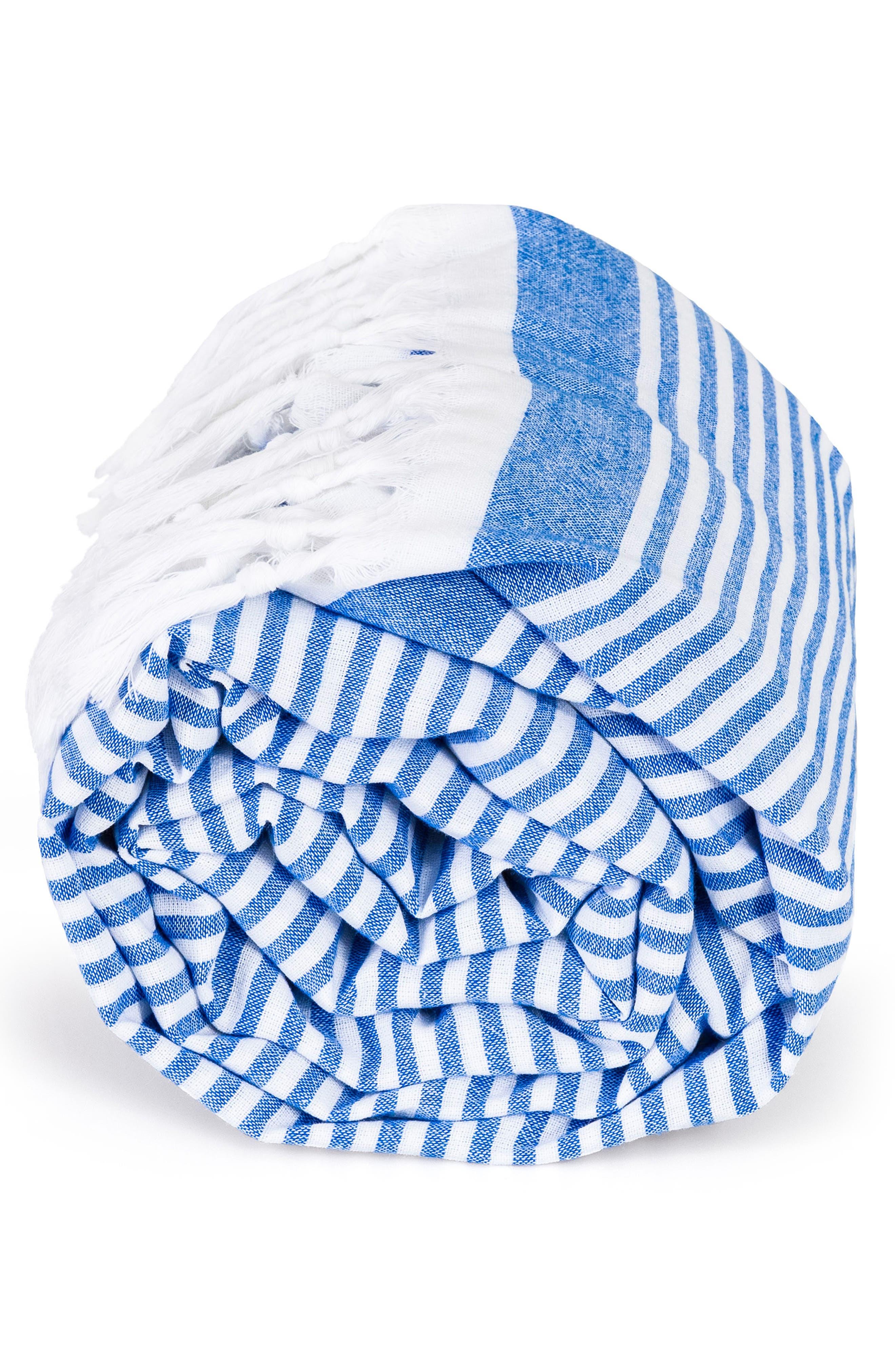 ,                             Soft Stripes Turkish Pestemal Towel,                             Alternate thumbnail 4, color,                             ROYAL BLUE