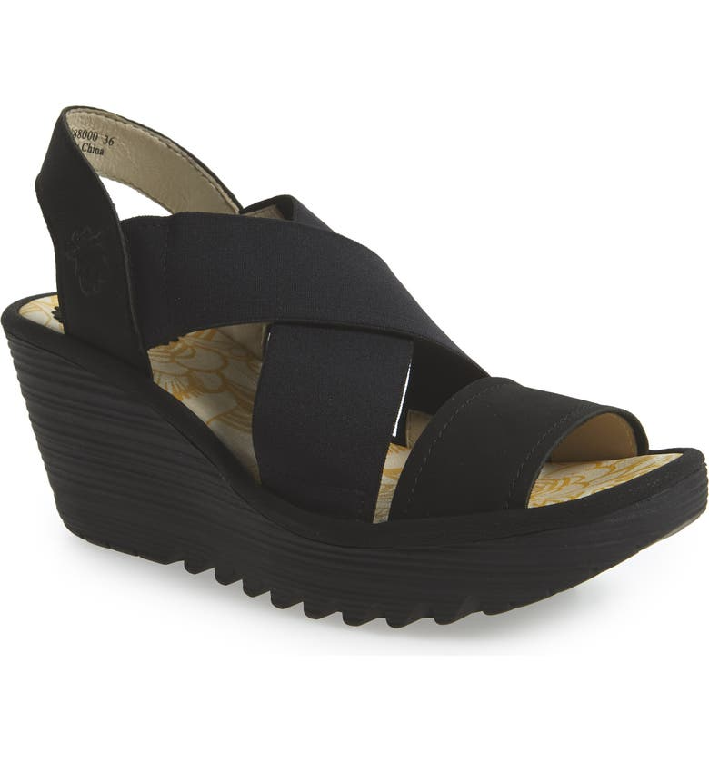 FLY LONDON Yaji Cross Wedge Sandal, Main, color, BLACK LEATHER