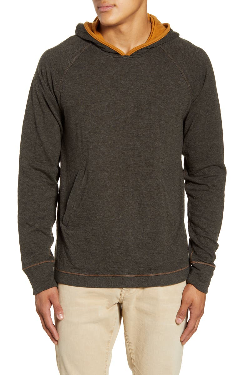 JEREMIAH Leone Double Cloth Cotton Hoodie, Main, color, COAL HEATHER