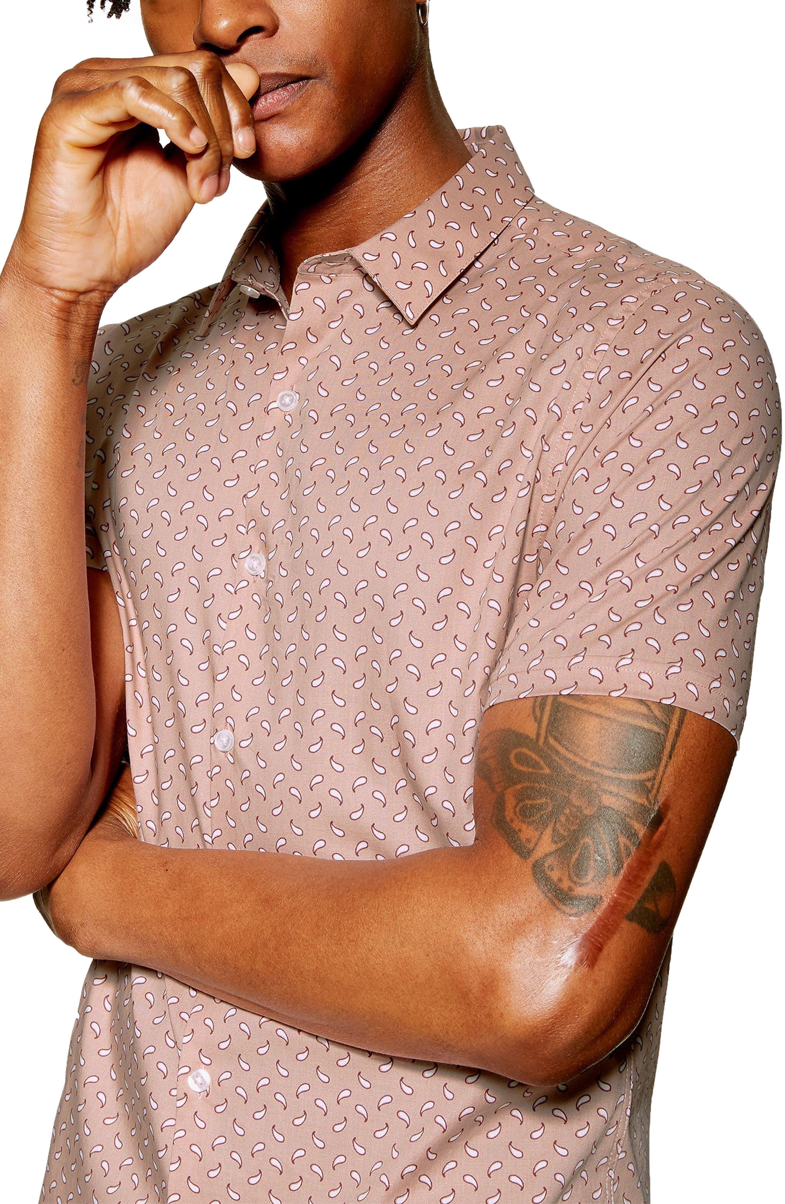 ,                             Stretch Skinny Fit Paisley Print Shirt,                             Alternate thumbnail 2, color,                             PINK MULTI