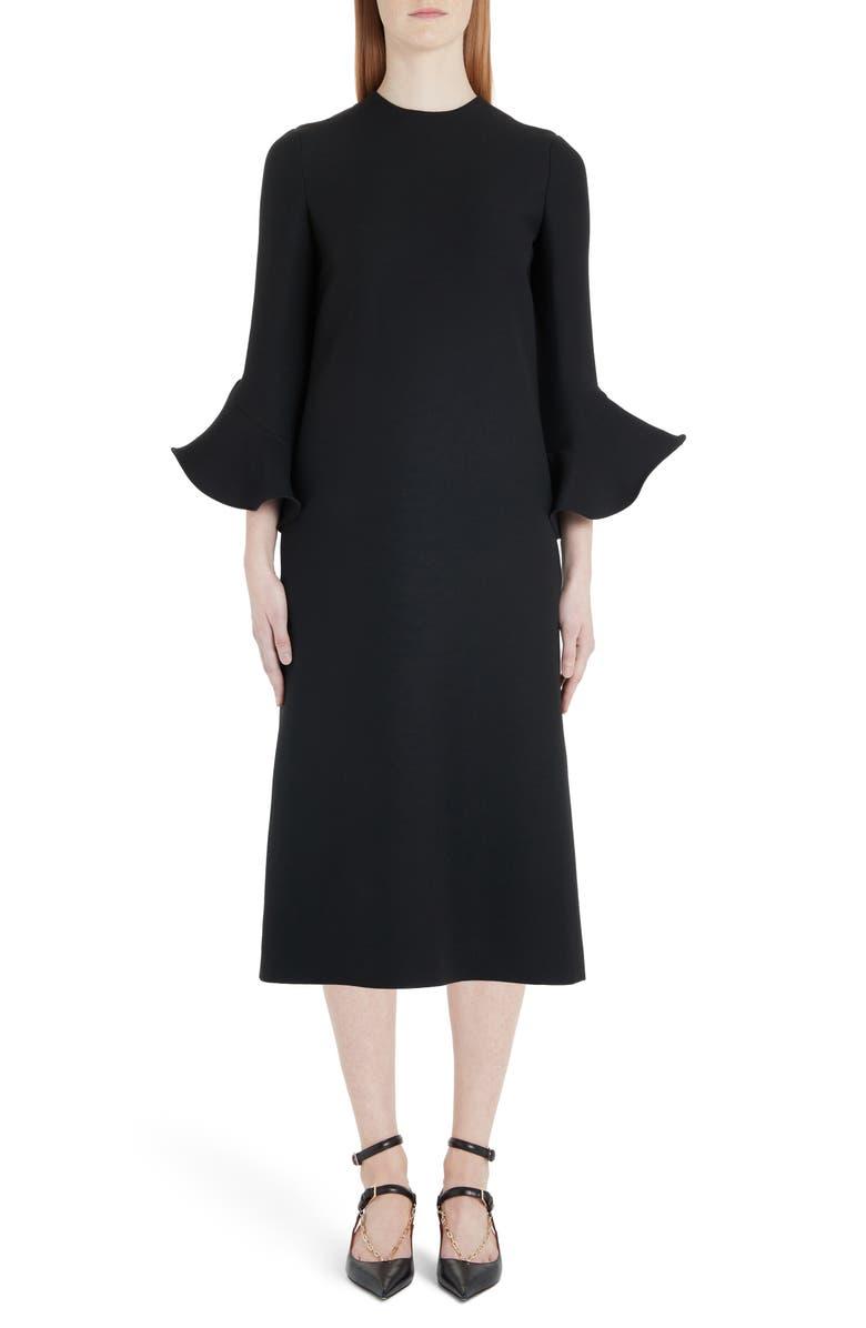 VALENTINO Flare Cuff Wool & Silk Midi Shift Dress, Main, color, 0NO-BLACK