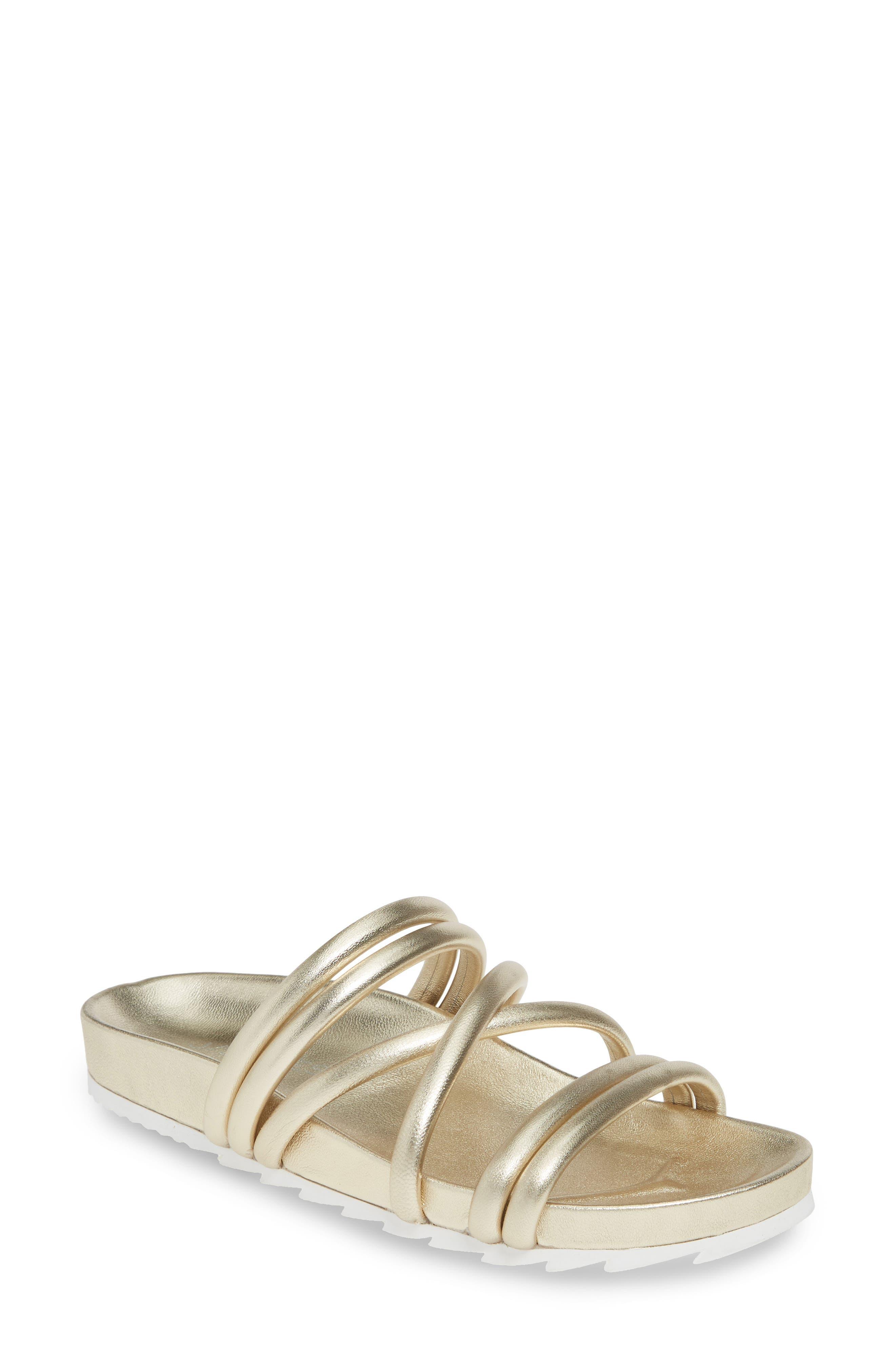Jslides Tess Strappy Slide Sandal, Metallic