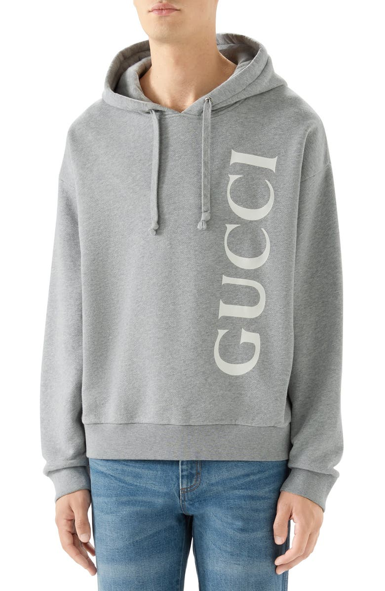 GUCCI Vertical Logo Cotton Hoodie, Main, color, 020