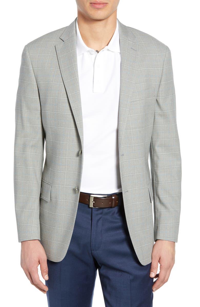 HART SCHAFFNER MARX Classic Fit Stretch Windowpane Wool Sport Coat, Main, color, 050