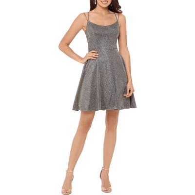 Xscape Glitter Double Strap Party Dress, Metallic