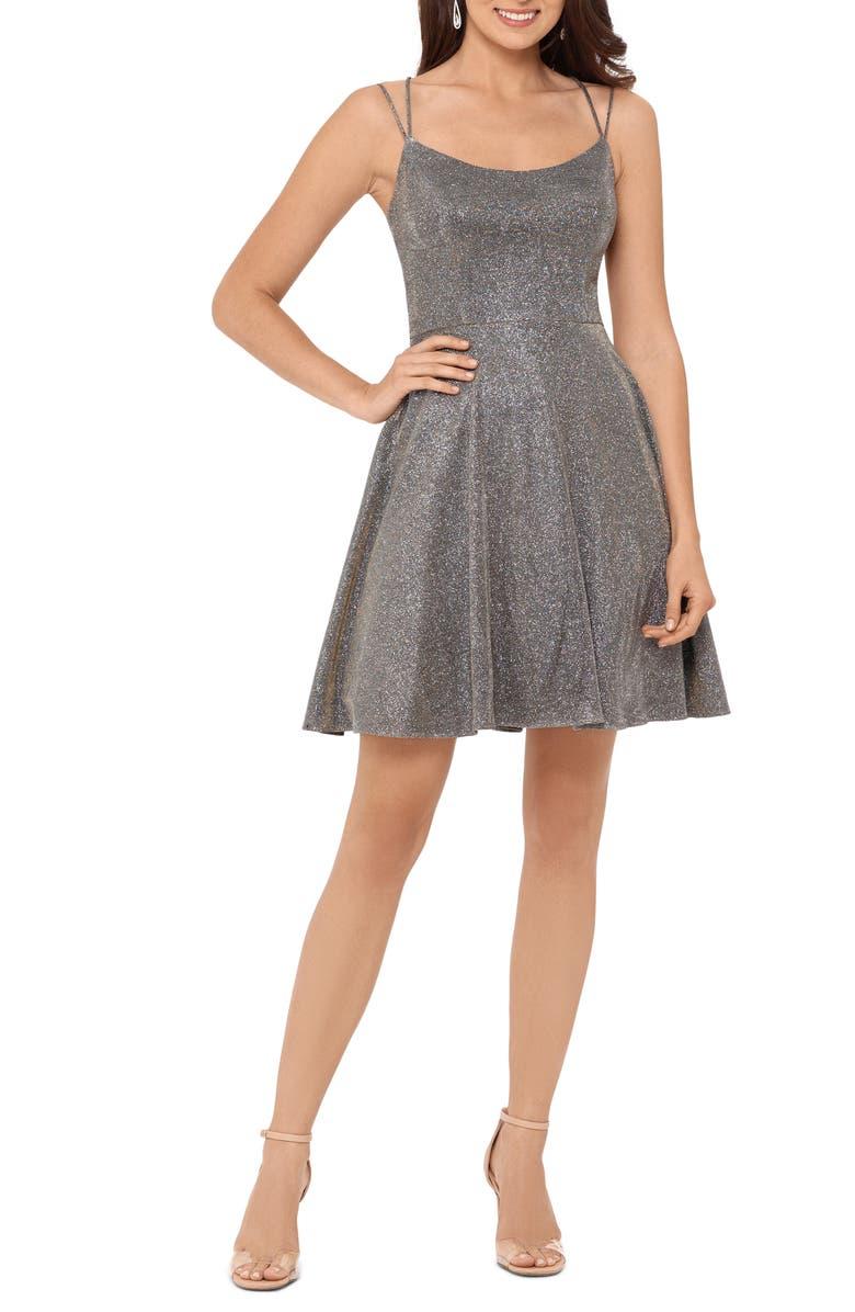 XSCAPE Glitter Double Strap Party Dress, Main, color, BLACK/ GOLD/ SILVER