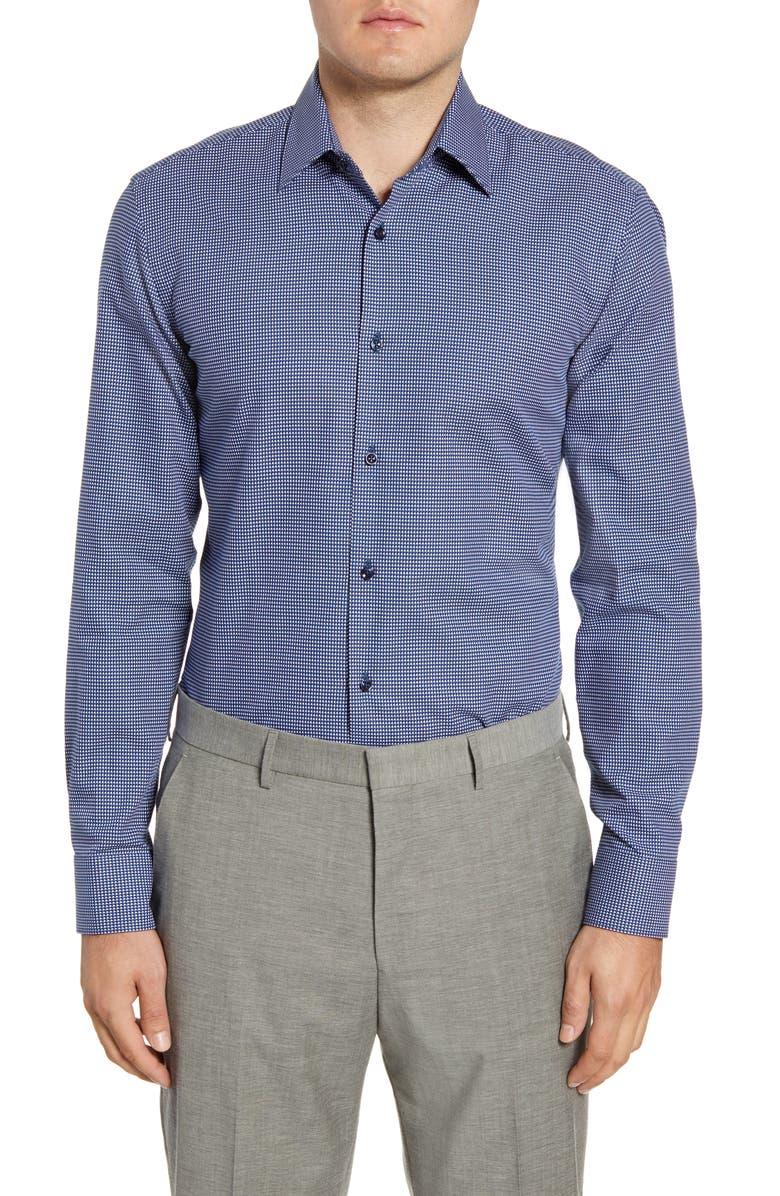 BOSS Slim Fit Geometric Dress Shirt, Main, color, BLUE/ GREEN