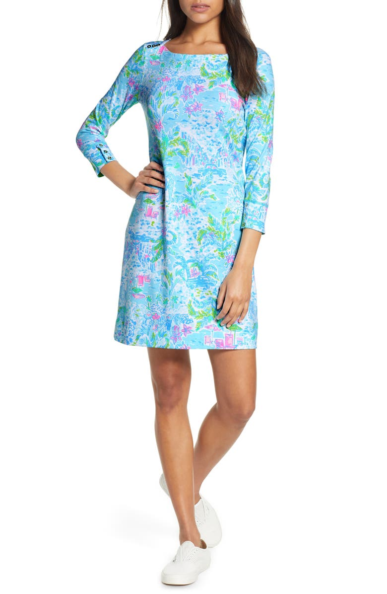 LILLY PULITZER<SUP>®</SUP> Sophie UPF 50+ Shift Dress, Main, color, MULTI WHAT A LOVELY PLACE
