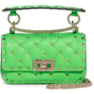 Valentino Garavani Mini Spike It Rockstud Neon Leather Shoulder Bag - Green