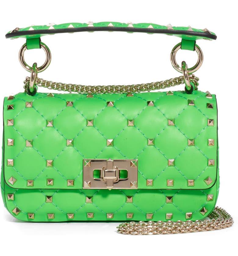 VALENTINO GARAVANI Mini Spike It Rockstud Neon Leather Shoulder Bag, Main, color, GREEN FLUO