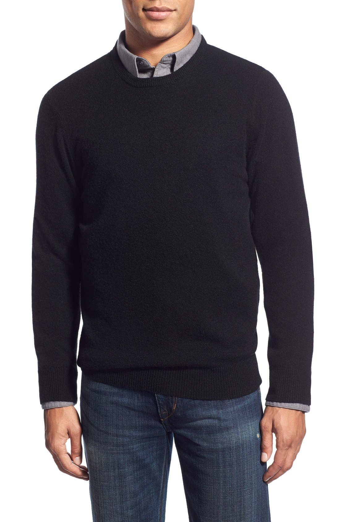 Mélange Knit Merino Wool & Cashmere Sweater, Main, color, 001
