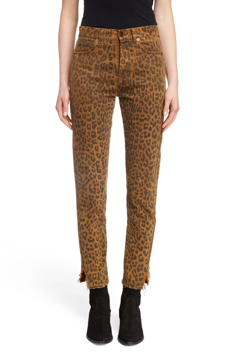 SAINT LAURENT Leopard Ankle Jeans, Main, color, 249
