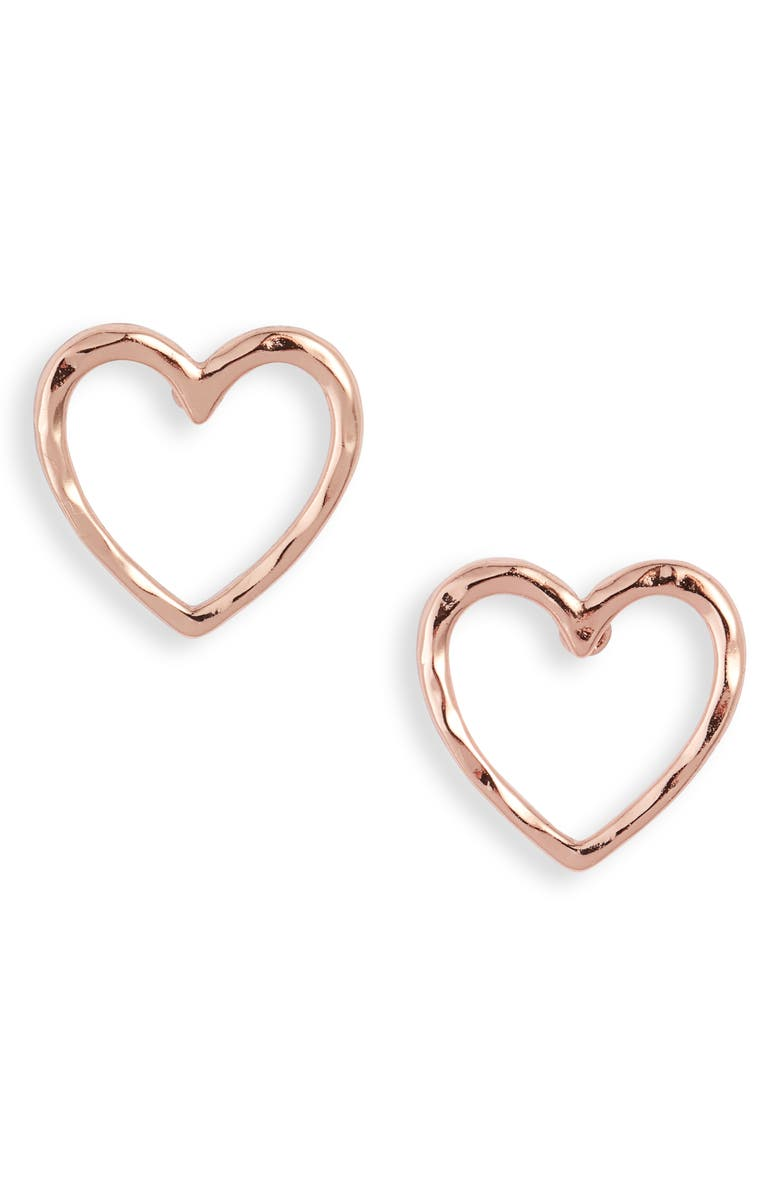 STELLA & DOT Essential Hammered Heart Stud Earrings, Main, color, ROSE GOLD