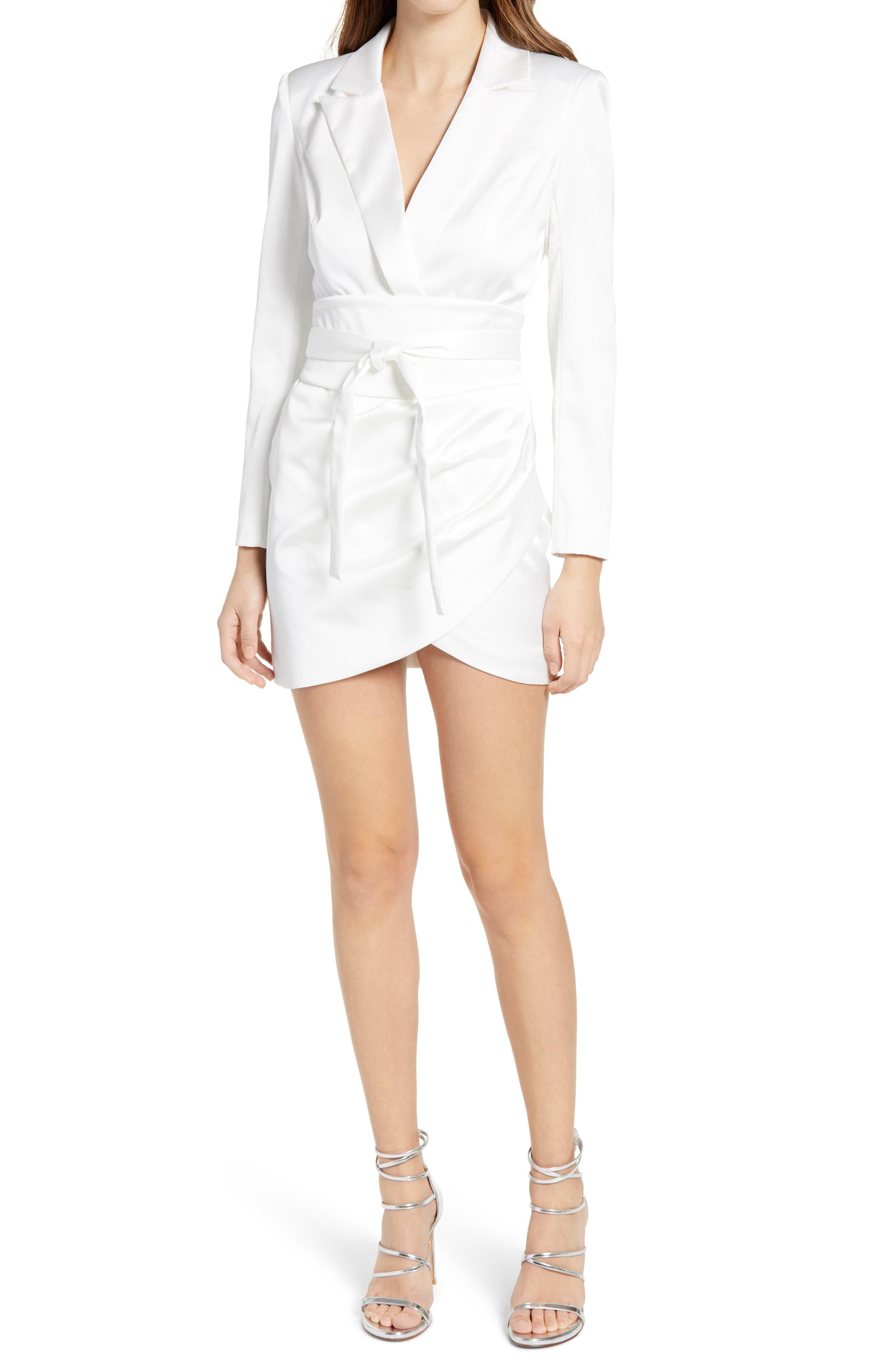 Belted Long Sleeve Blazer Minidress