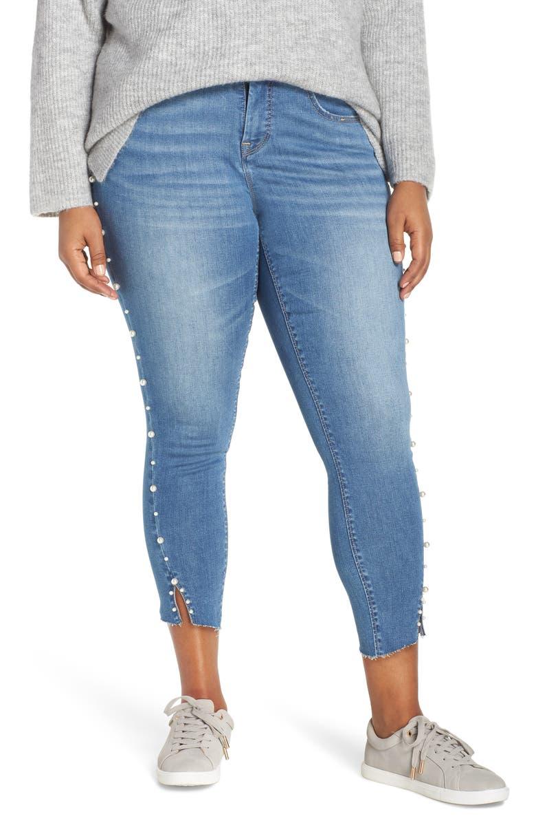 YSJ Pearl Rivet Ankle Skinny Jeans, Main, color, OYSTER BAY WASH