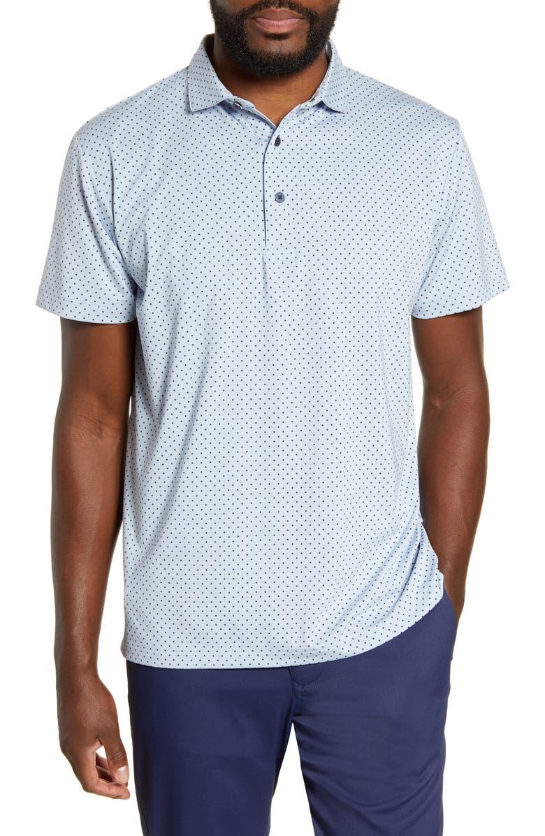 MIZZEN+MAIN Phil Mickelson Dot Short Sleeve Performance Golf Polo, Main, color, BLUE HEATHER DOT