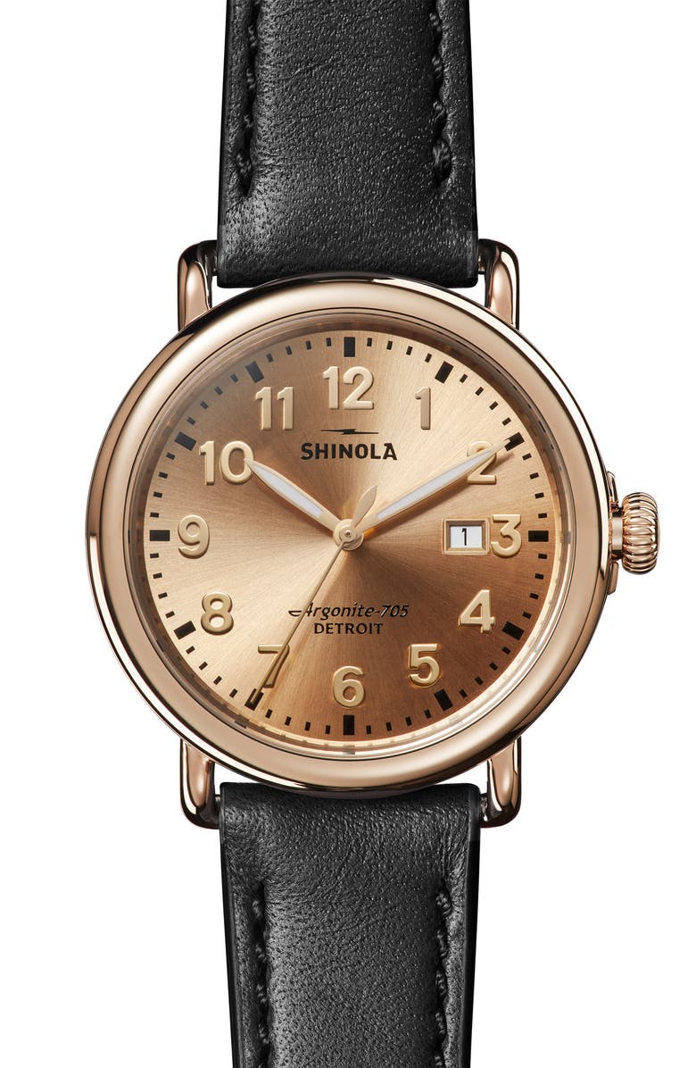 SHINOLA 'Runwell' Leather Strap Watch, 41mm, Main, color, 001