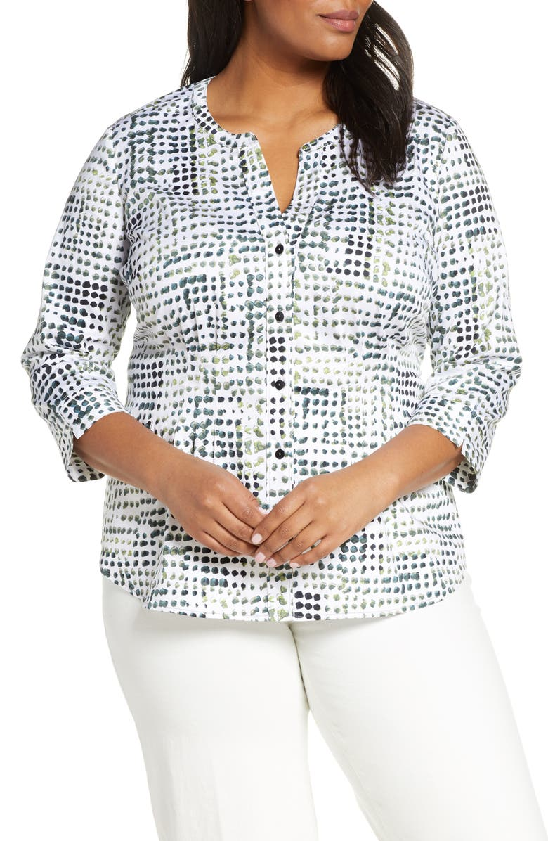 NIC+ZOE Vacation Spot Print Stretch Cotton Blouse, Main, color, 100