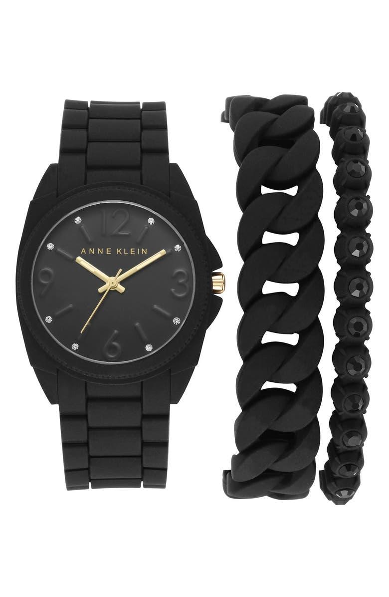 ANNE KLEIN Silicone Bracelet Watch Set, 36mm, Main, color, 001