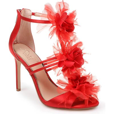 Jewel Badgley Mischka Dustine Applique Sandal, Red