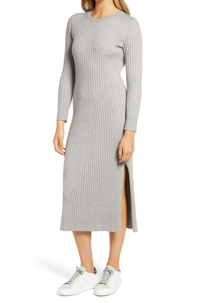 WAYF x BFF Hollie Long Sleeve Sweater Dress, Main, color, HEATHER GREY
