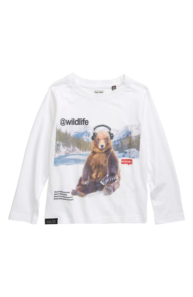 REBEL JAMES & CHARLI Bear with Headphones Graphic T-Shirt, Main, color, 100