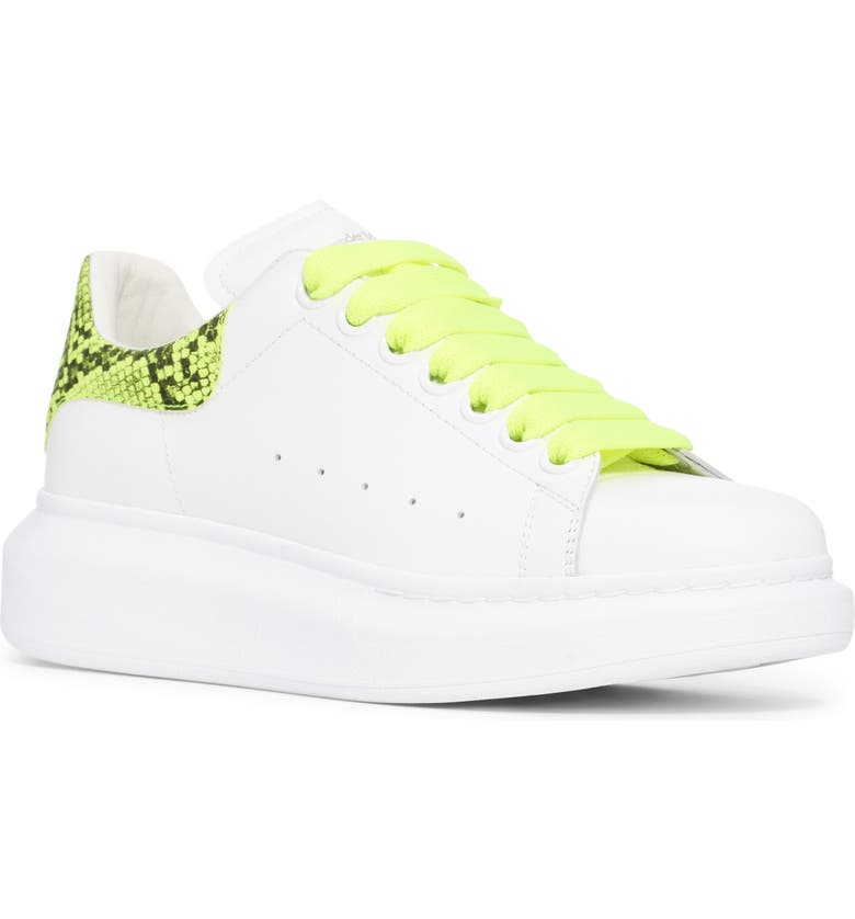ALEXANDER MCQUEEN Lace-Up Platform Sneaker, Main, color, WHTE/ PINEAPPLE