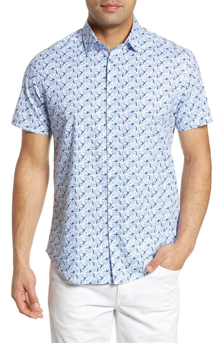 STONE ROSE Regular Fit Bird Print Shirt, Main, color, BLUE