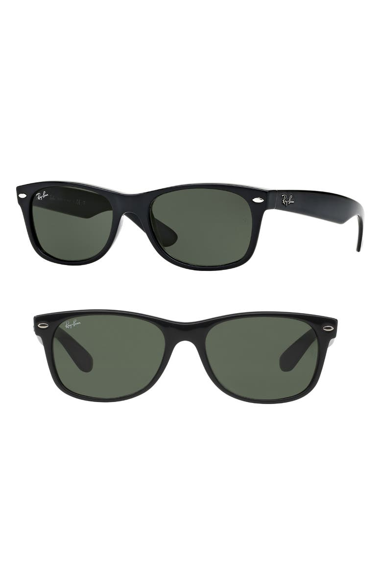 RAY-BAN Standard New Wayfarer 55mm Sunglasses, Main, color, BLACK