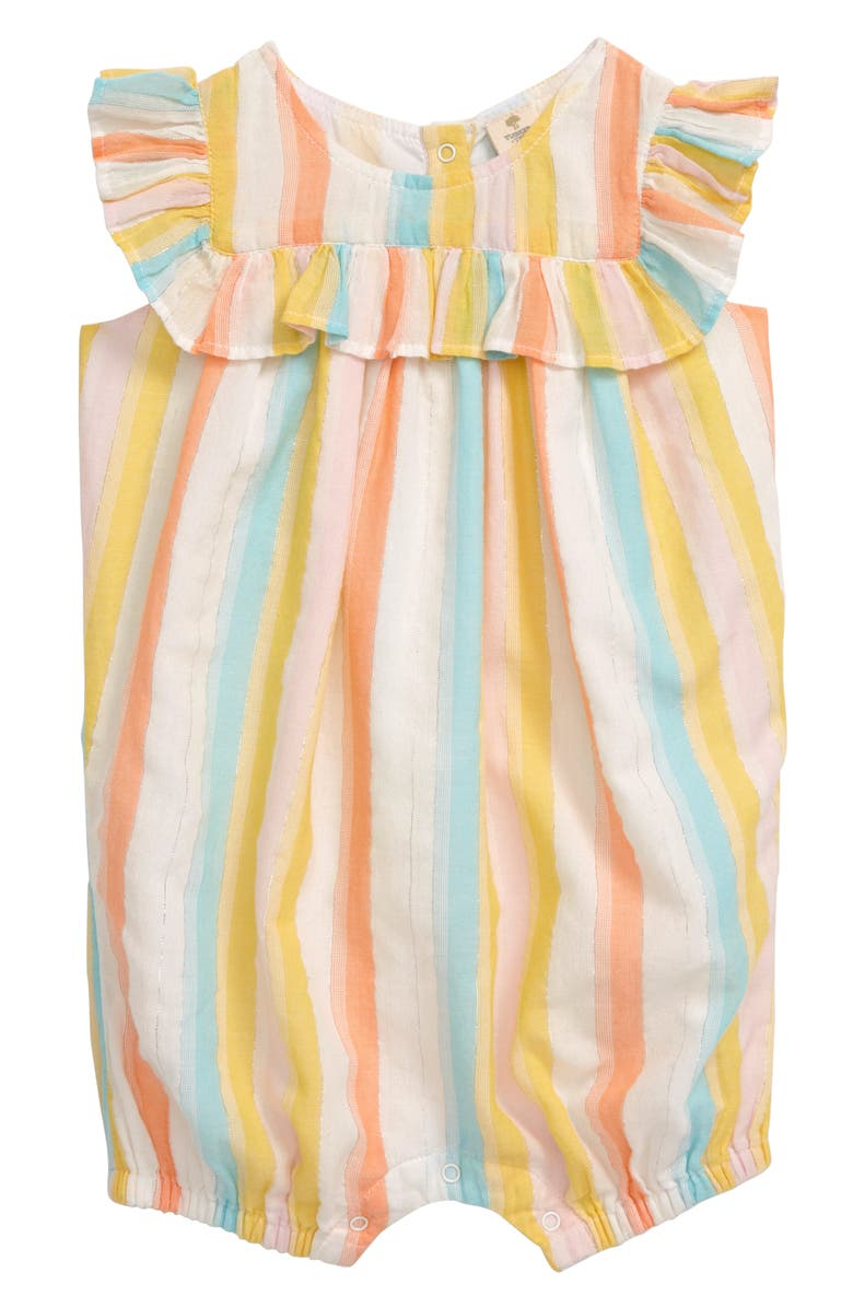 TUCKER + TATE Ruffle Stripe Romper, Main, color, WHITE MULTI SPARKLE STRIPE