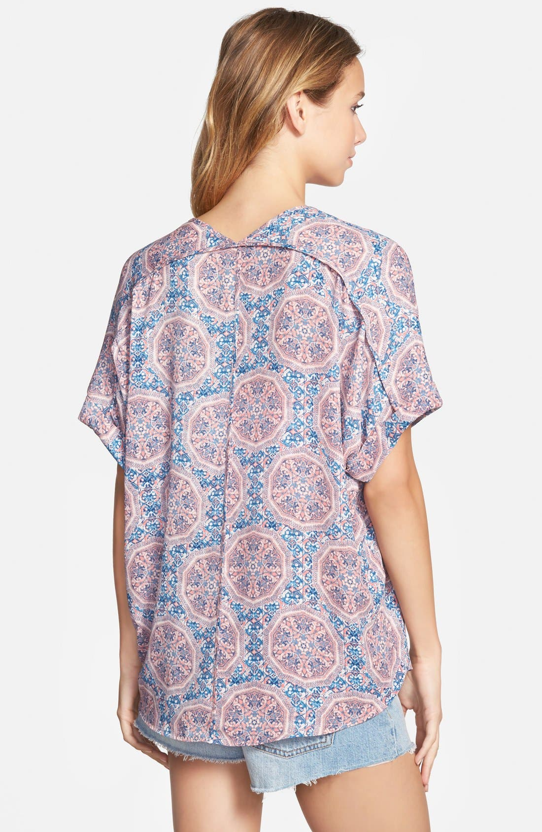 ,                             Lush Cuff Sleeve Woven Tee,                             Alternate thumbnail 86, color,                             407