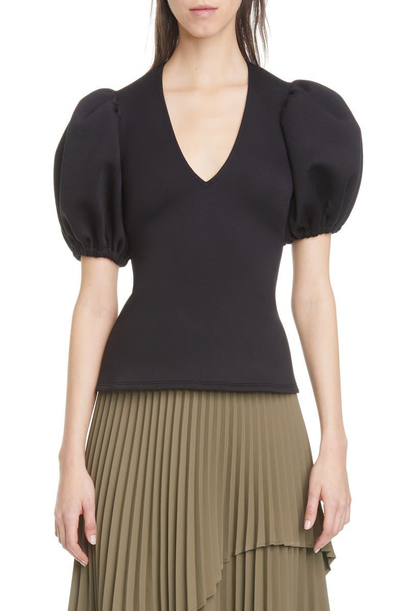 BEAUFILLE Rieu Puff Sleeve Neoprene Top, Main, color, BLACK