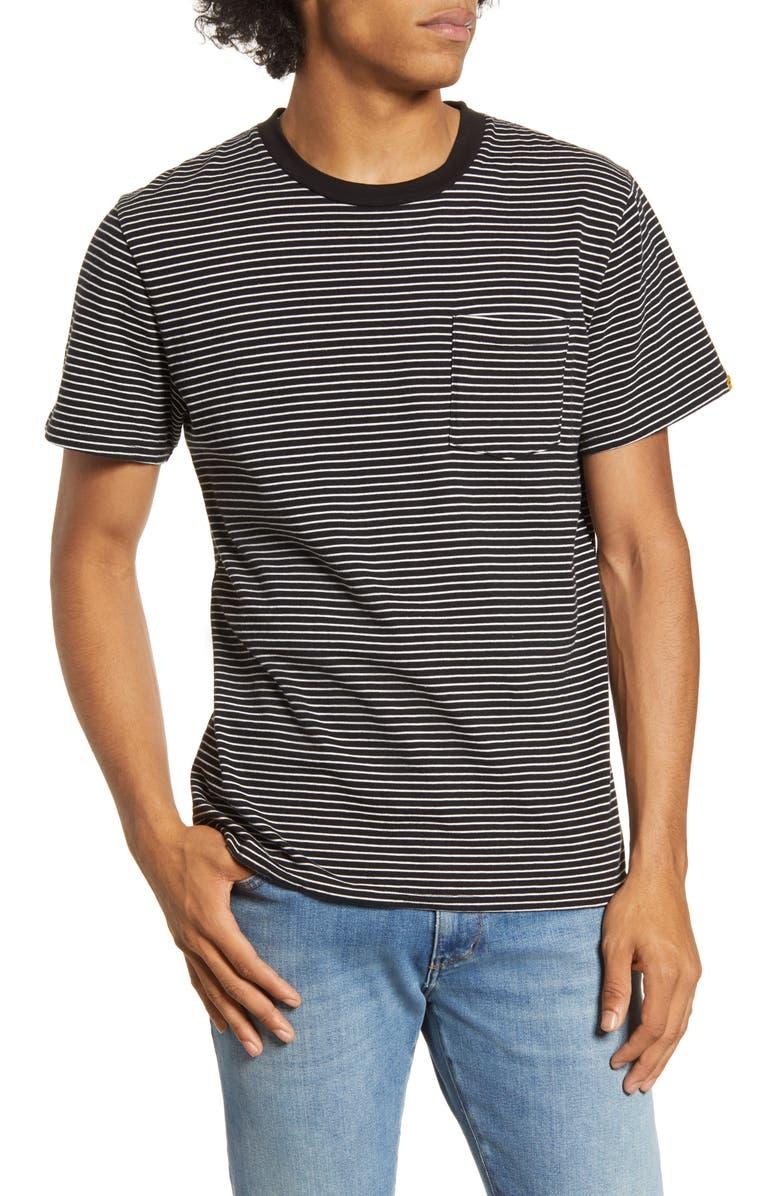 BARKING IRONS x Bob Dylan 1966 Stripe Pocket T-Shirt, Main, color, 019
