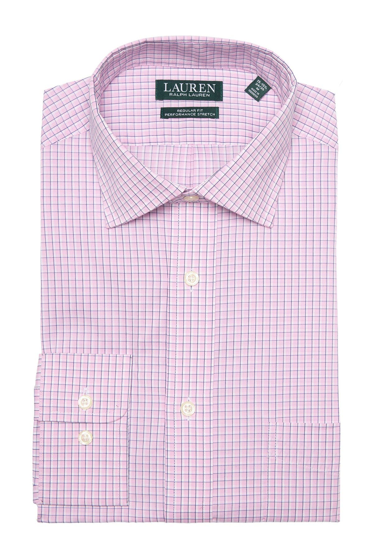 Image of Lauren Ralph Lauren Check Regular Fit Stretch Dress Shirt
