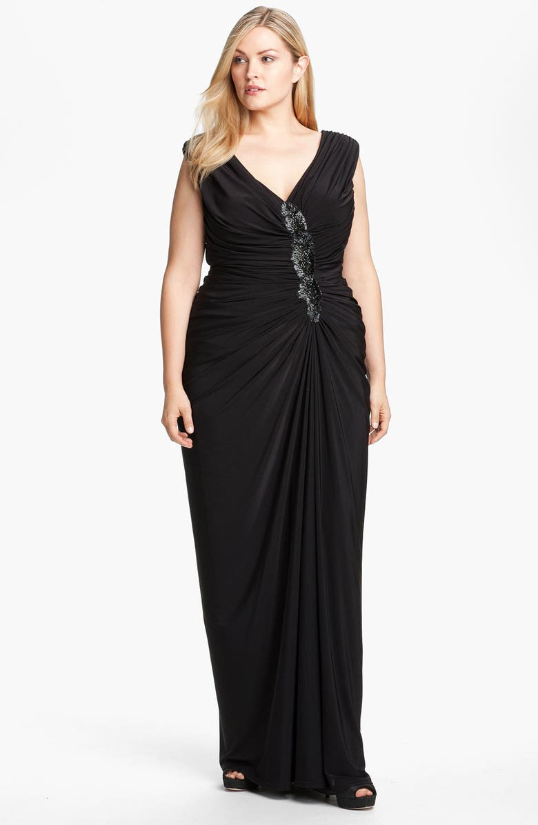 Beaded Gathered Jersey Gown