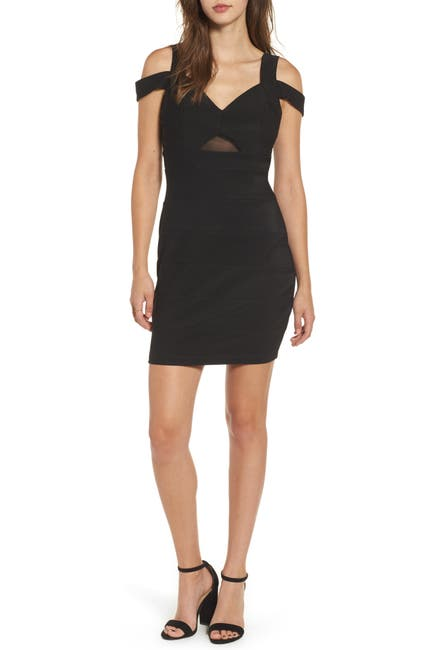 Image of Love, Nickie Lew Cold Shoulder Mesh Insert Bodycon Dress