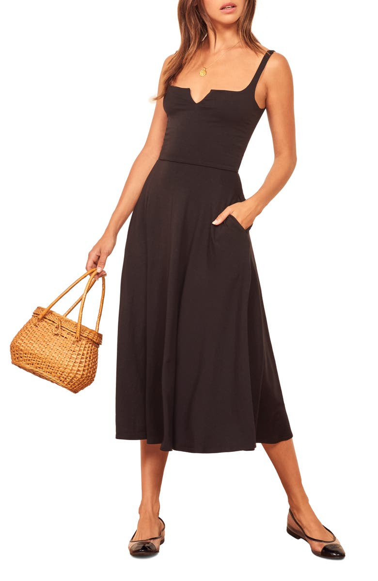 REFORMATION Zarina Notch Neck Dress, Main, color, BLACK