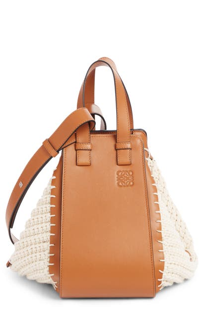 Loewe Hammock Small Leather And Crochet-knit Cotton Shoulder Bag In Brown