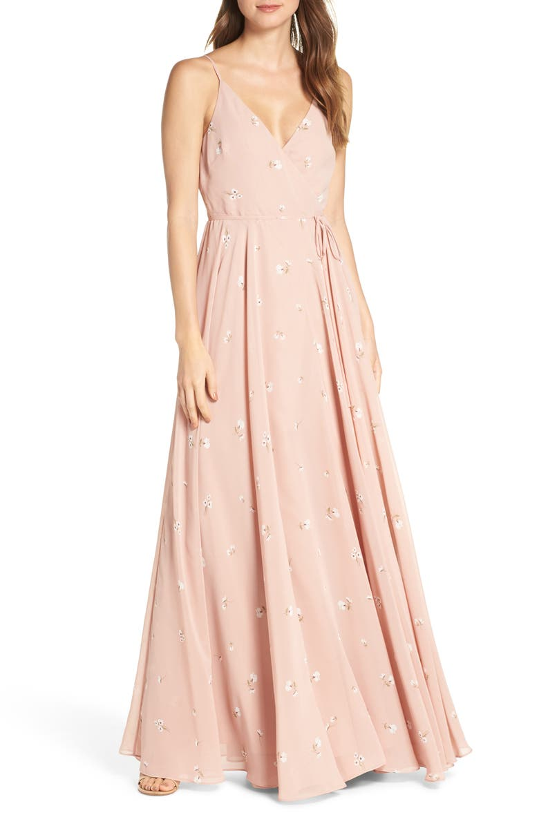JENNY YOO James Ditsy Floral Print Wrap Chiffon Evening Gown, Main, color, WHIPPED APRICOT