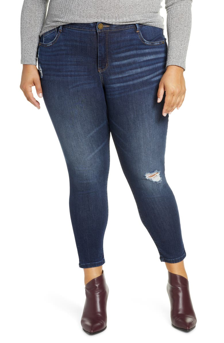 WIT & WISDOM Ab-solution Ripped High Waist Ankle Skinny Jeans, Main, color, BLUE