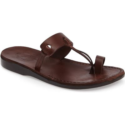 Jerusalem Sandals David Toe-Loop Sandal,12.5 - Brown