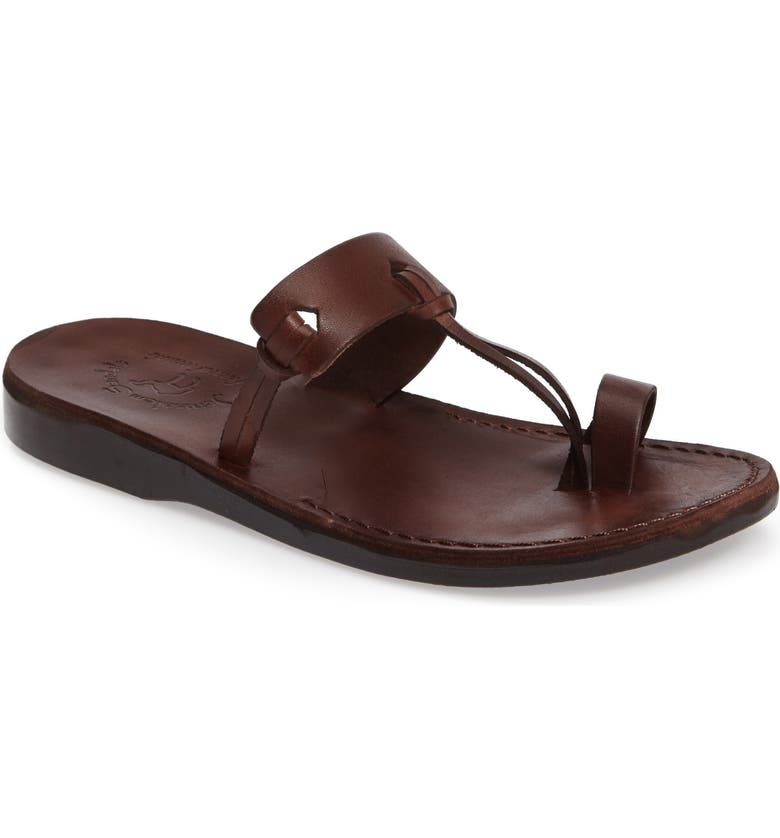 JERUSALEM SANDALS David Toe-Loop Sandal, Main, color, BROWN LEATHER