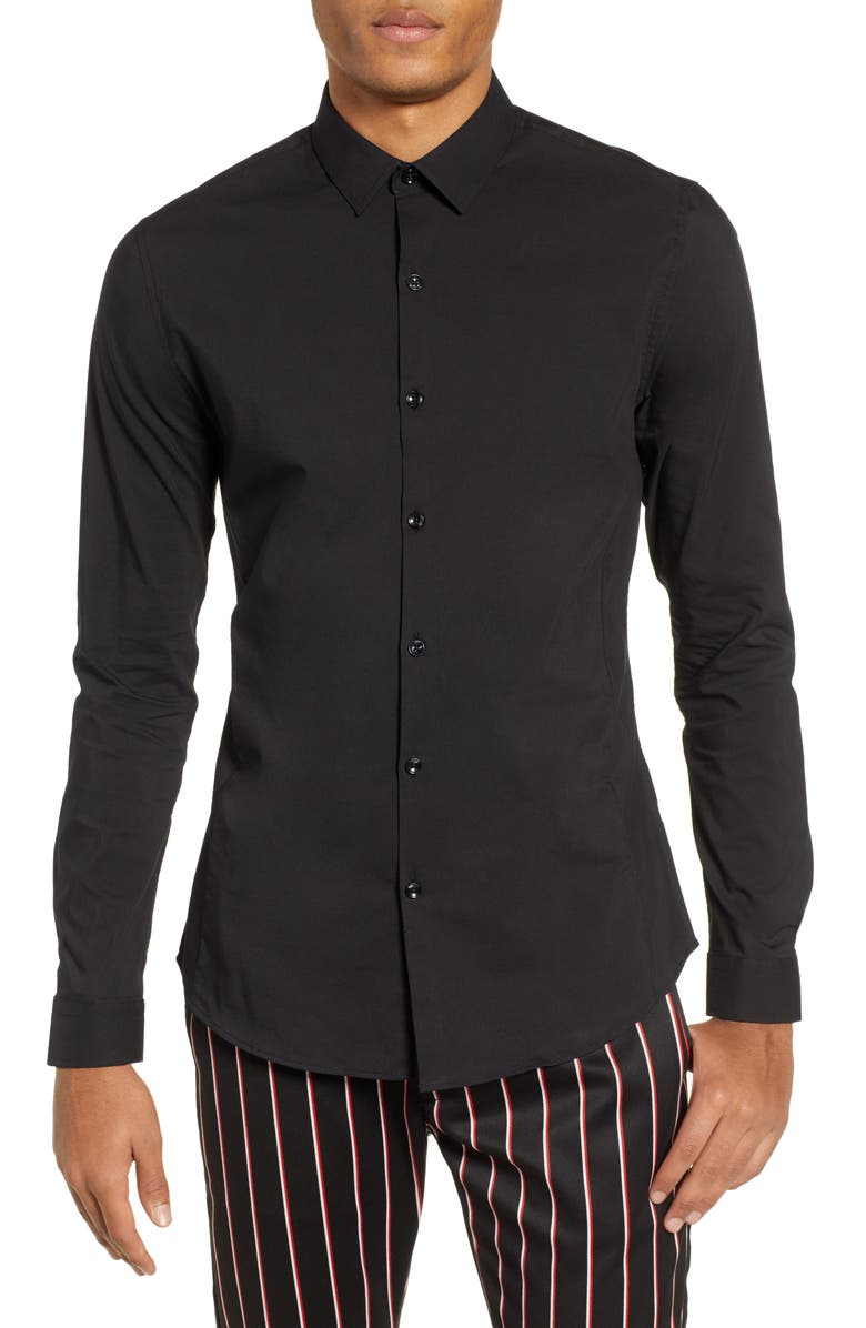 TOPMAN Stretch Woven Shirt, Main, color, BLACK