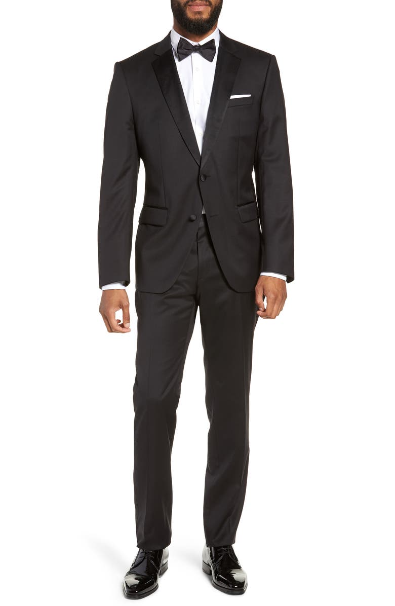 BOSS Halven/Gentry Slim Fit Wool Tuxedo, Main, color, BLACK
